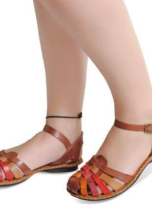 Sandália rasteirinha couro antiderrapante frente fechada confortavel