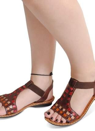Sandália rasteirinha indiana em couro antiderrapante super confortável