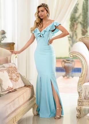 Vestido de festa longo azul tifany claro madrinha de casamento formatura baile