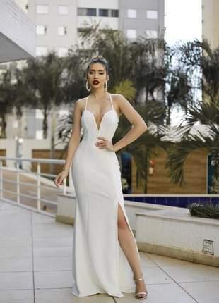 Vestido de festa longo off white noivado casamento civil pre wedding formatura baile