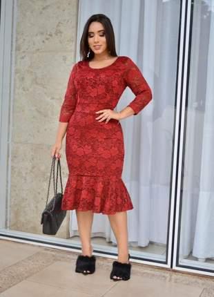 Vestido g midi vermelho escuro moda evangelica