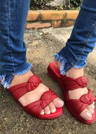Sandália rasteira salto baixo velvet