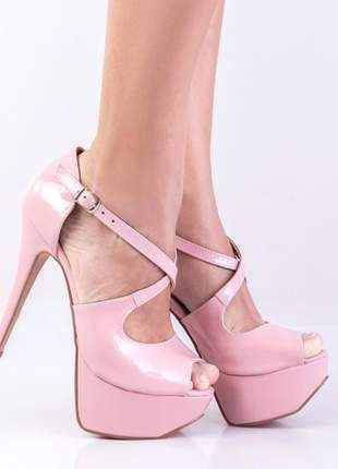 Sandália rosa meia pata salto alto festa