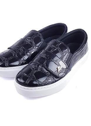 Promoção a pronta entrega tênis slip on sapatênis velcro croco preto super confortável