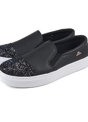 Tênis slip on pronta entrega sapatênis com glitter preto super confortável