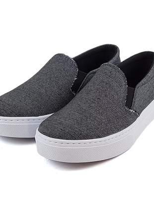 Promoção a pronta entrega tênis slip on sapatenis jeans escuro super confortável