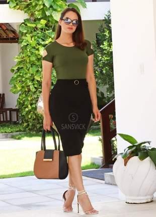 Conjunto feminino blusinha + saia preta lisa