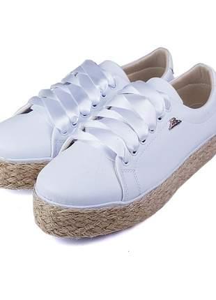 Promoção a pronta entrega tênis cadarço cetim sapatênis branco com corda confortável