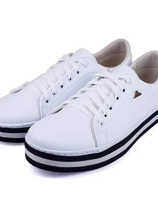 Promoção a pronta entrega lindo tênis sapatênis slip listras branco confortável