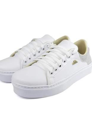 Promoção a pronta entrega tênis glitter sapatênis branco confortável para o seu dia a dia