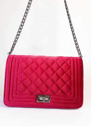 Bolsa bag juliana vermelho - bolsa feminina de veludo, tiracolo, para festas e eventos
