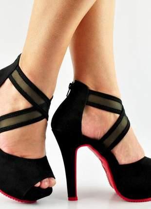 Sandália salto alto meia pata