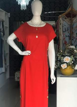 Vestido longo de linho vermelho