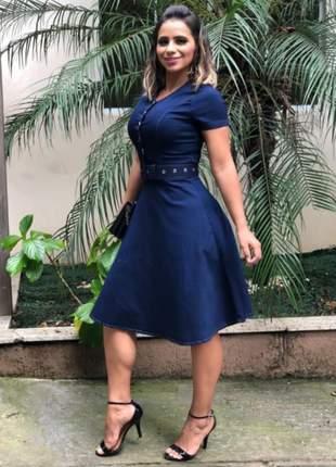 Vestido jeans feminino mid com botões evangélico secretaria casual