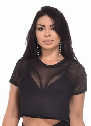 Conjunto cropped renda tiras com bojo + blusa tule top curto moda transparência