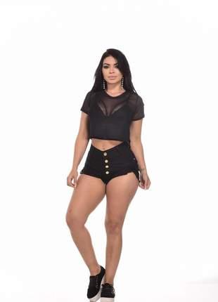 Conjunto cropped + blusa lule + shorts jeans feminino promoção