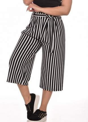 Calça pantacourt pantalona listrada moda verão curta laço cintura alça