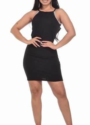 Vestido ribana alça com bojo curto feminino 3d decote com listras colado promoção