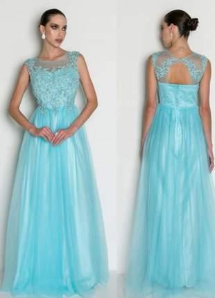 Vestido festa todo bordado azul tifany