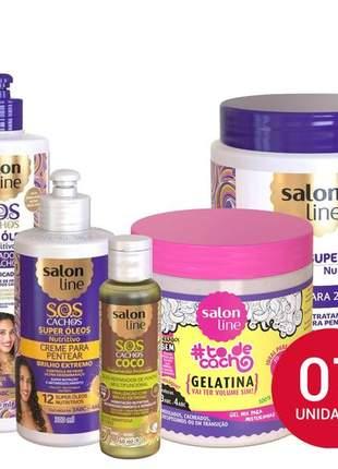 Salon line sos super oleos nutritivo c/ ativ 500g + gelatina + oleo coco  kit 07 produtos
