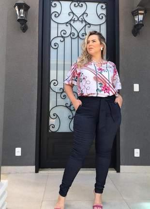 Calça social plus size cintura alta laço com bolsos