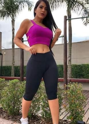 Bermuda suplex poliamida feminina cintura alta