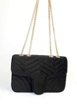 Bolsa bag fabiana preta - bolsa feminina de veludo e ombro, para festas e eventos.
