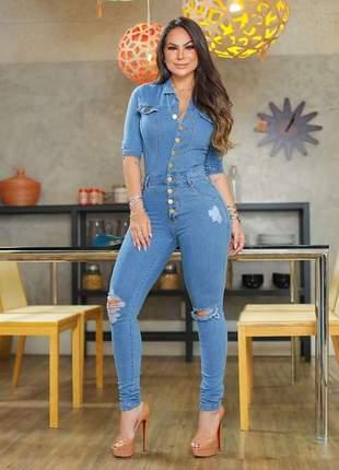 😍 macacão jeans skinny maravilhoso