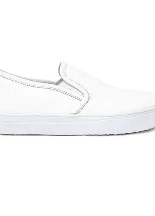 Tênis slip on feminino em couro legitimo branco