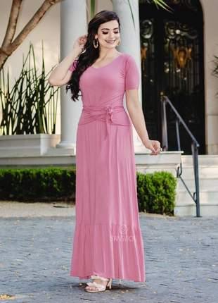 Conjunto saia longa com babado + blusinha de amarrar rosê