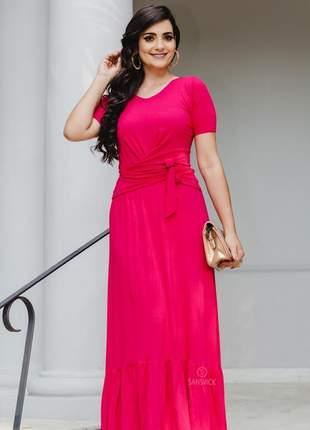 Conjunto moda evangélica social saia longa rosa pink