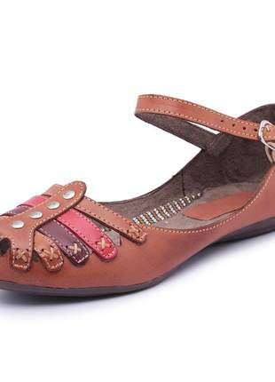 Sandália sapatilha rasteira feminina 100% em couro
