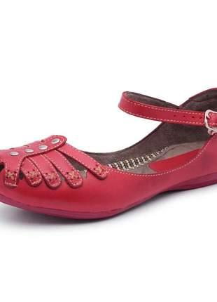 Sandália sapatilha rasteira feminina 100% em couro bergally
