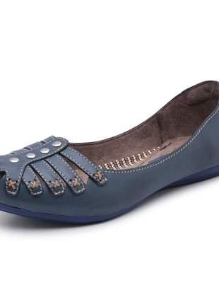 Sapatilha sandália rasteira feminina 100% em couro bergally
