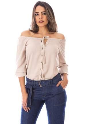 Blusa sisal jeans ciganinha manga longa