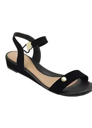 Sandalia anabela baixa via scarpa 12600 preta