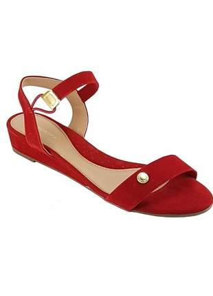 Sandalia  anabela baixa via scarpa 12600 vermelha