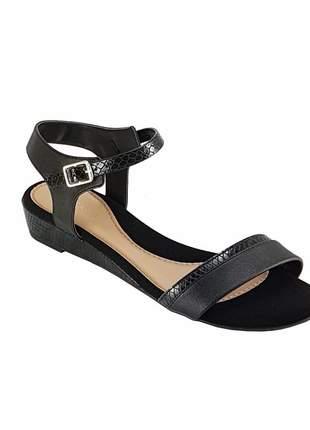Sandalia  anabela baixa via scarpa 9589 preta