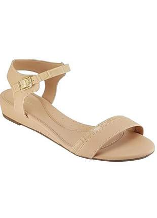 Sandalia  anabela baixa via scarpa 9589 nude