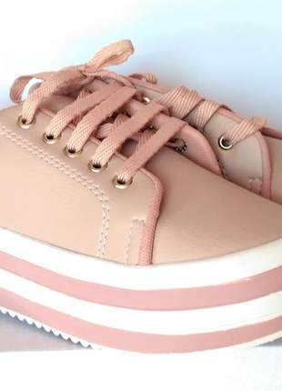 Tênis feminino sola alta flatform cor rosa claro