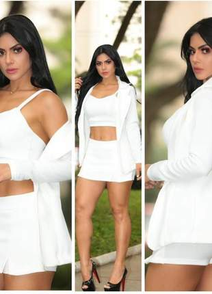 Conjunto 3pçs ( blazers, cropped e shorts/saia