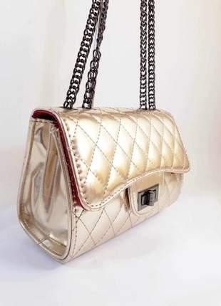 Bolsa bag carina dourada - bolsa feminina, de ombro, para festas e eventos