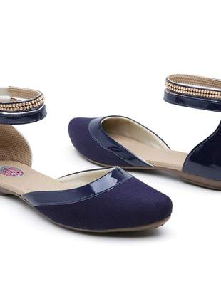 Sapatilha sandália baixa de festa com strass confortável