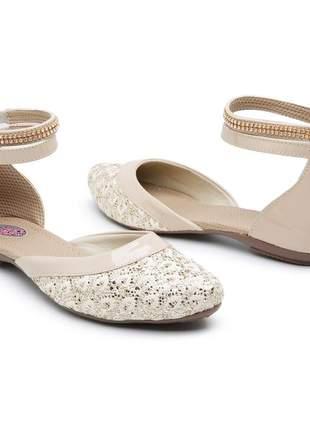 Sapatilha sandália baixa de renda com strass luxo