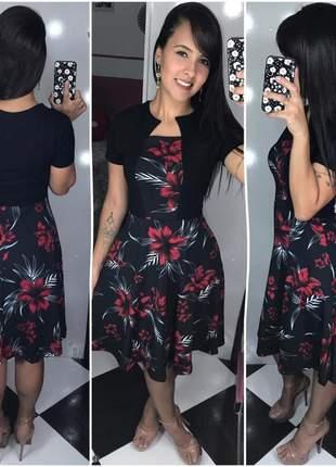 Vestido rodado godê midi moda evangélica social importado promoção