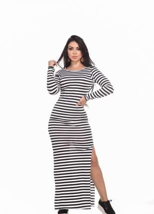 Vestido feminino longo listrado manga longa fenda abertura decote