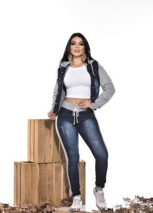 Conjunto jeans com moletom capuz bolso jaqueta calça