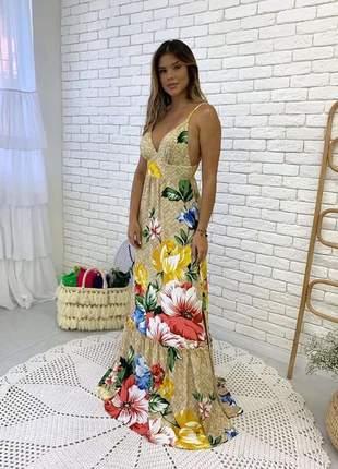 Vestido longo estampa floral salgunamu