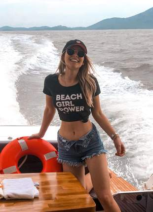 Babylook feminina preta que preserva beach girl power