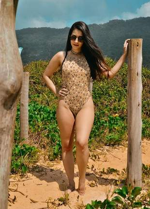 Maiô body cavado oncinha lovers animal print nude neon